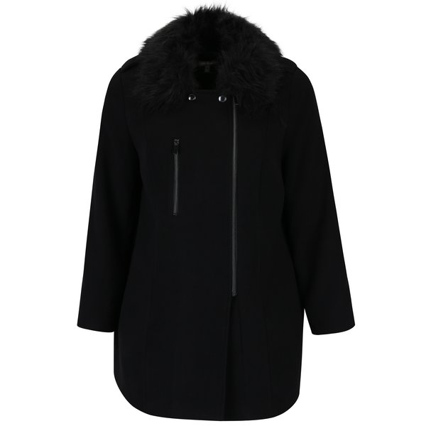 Palton negru cu blana artificiala Ulla Popken