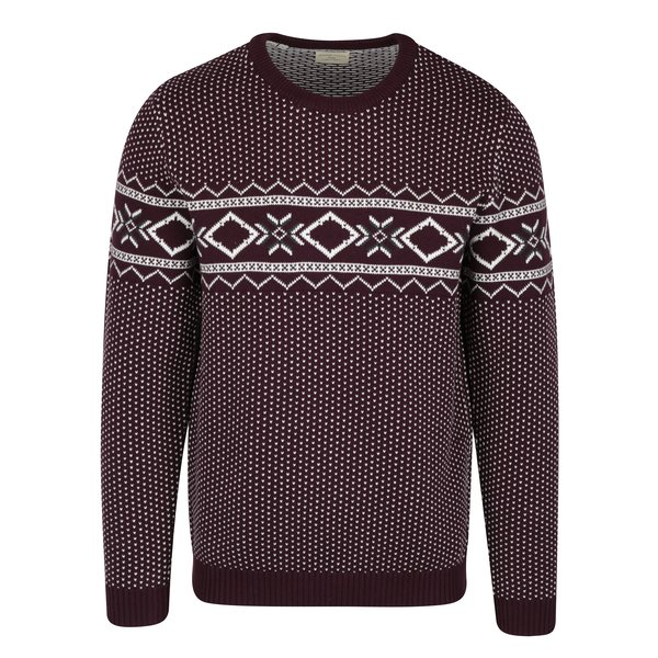 Pulover mov & crem cu motiv norvegian - Selected Homme Blizzard