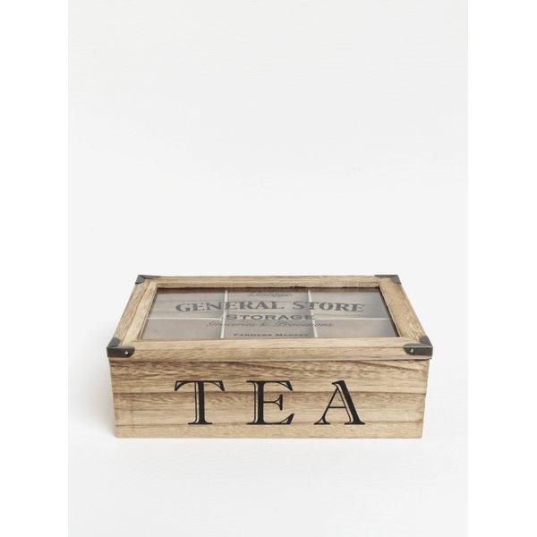 Cutie pentru ceai maro cu inscriptie SIFCON