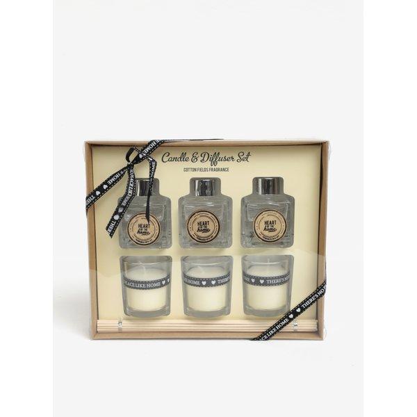 Set de 3 lumanari cu difuzor si betigas cu parfum de bumbac SIFCON