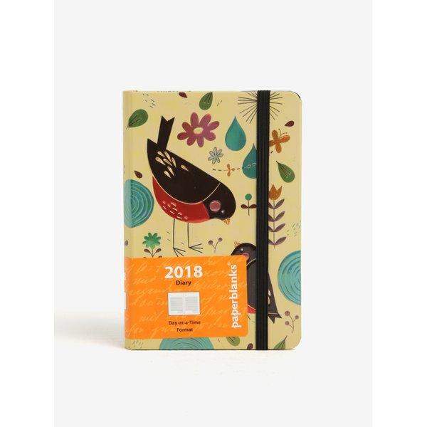 Agenda 2018 verde&argintiu cu print pasari Paperblanks Mother Robin