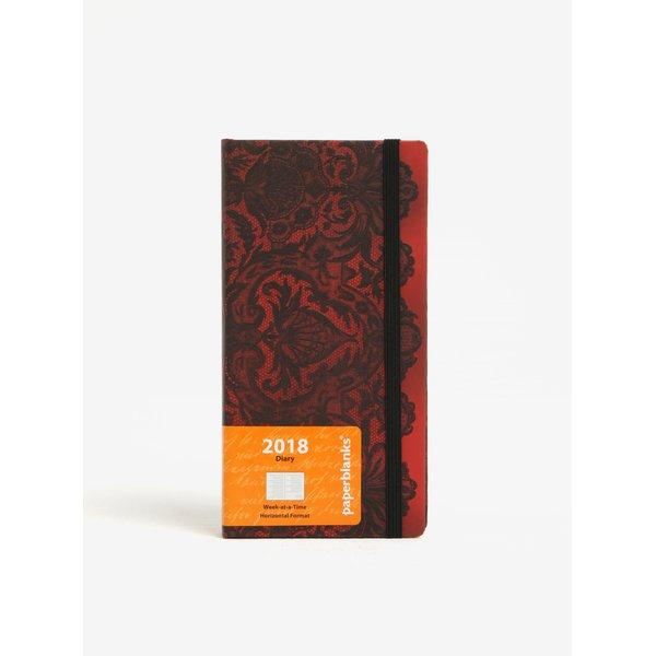 Agenda 2018 negru&rosu cu print dantela Paperblanks Rouge Boudoir
