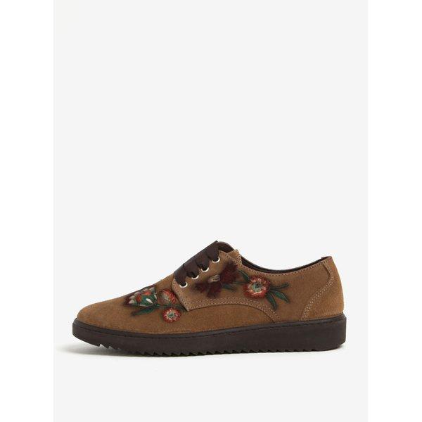 Pantofi maro deschis cu broderie florala din piele intoarsa OJJU