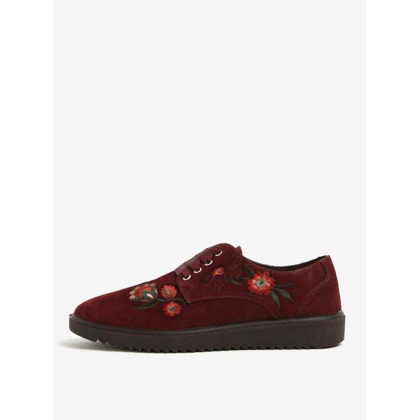 Pantofi bordo cu broderie florala din piele intoarsa OJJU