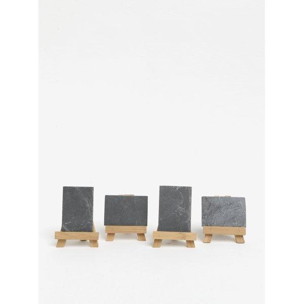 Set de 4 table de desen mini maro&negru din lemn de bambus SIFCON