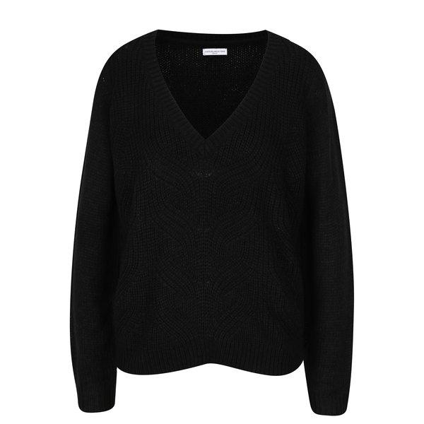 Pulover negru cu decolteu anchior Jacqueline de Yong Drink
