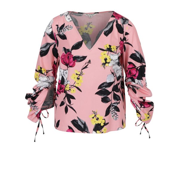 Bluza roz cu print floral si maneci balon ajustabile – Miss Selfridge