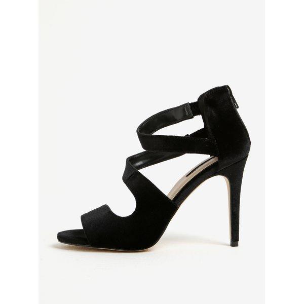 Sandale negre din catifea cu toc cui - Miss Selfridge Clara