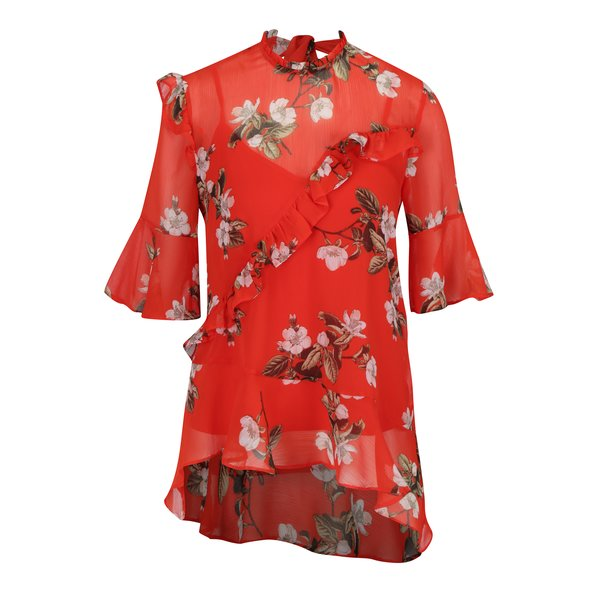 Bluza rosu & verde cu print floral, maneci 3/4 si volan decorativ - Miss Selfridge
