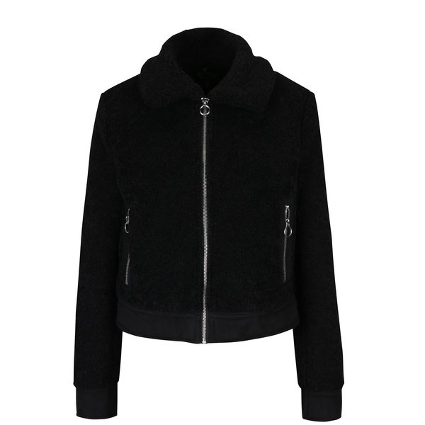 Jacheta neagra din blana artificiala cu buzunare – Miss Selfridge