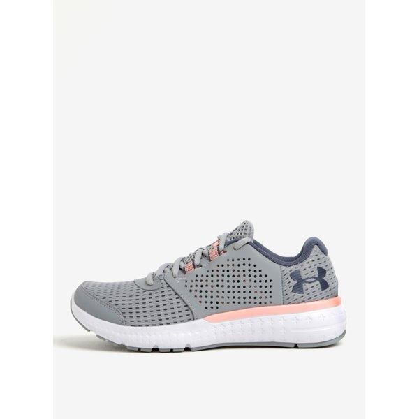 Pantofi sport gri de alergare cu detalii din piele pentru femei - Under Armour Fuel