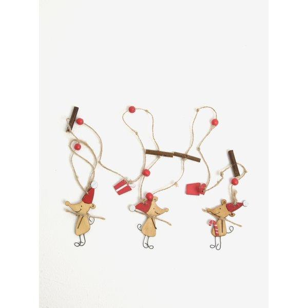 Decoratiune de agatat pentru Craciun cu soricei si cadouri – Sass & Belle