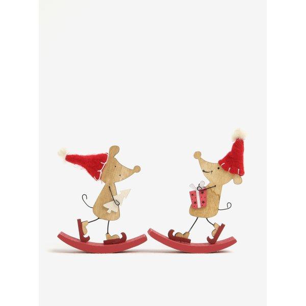 Set de 2 piese ornamentale de sarbatori in forma de soricei pe balansoar – Sass & Belle
