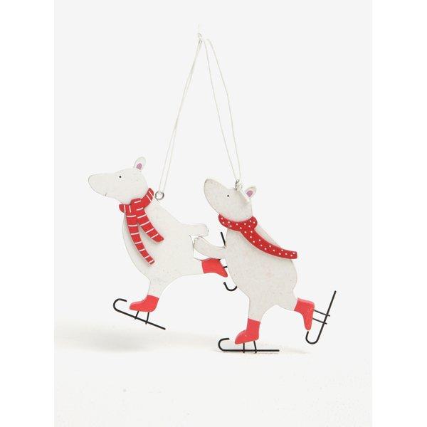 Set de 2 piese ornamentale in forma de ursi polari cu patine pentru iarna – Sass & Belle