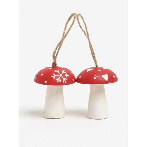 Set de 2 piese ornamentale in forama de ciuperci pentru sarbatori – Sass & Belle