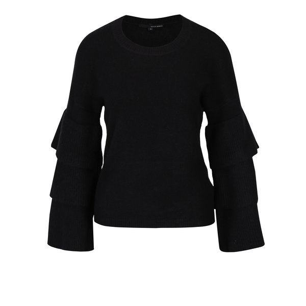 Pulover negru cu volane pe maneci - TALLY WEiJL