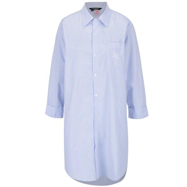 Camasa de noapte cu dungi alb & albastru si logo brodat – Lauren Ralph Lauren Heritage