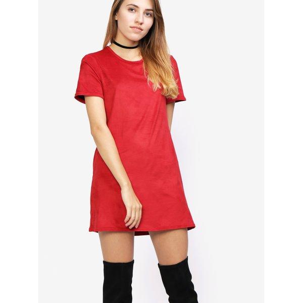 Rochie rosie cu maneca scurta si aspect de piele intoarsa - MISSGUIDED