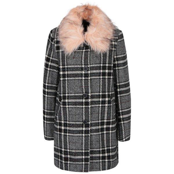 Palton alb&negru in carouri cu guler din blana artificiala ONLY Dory