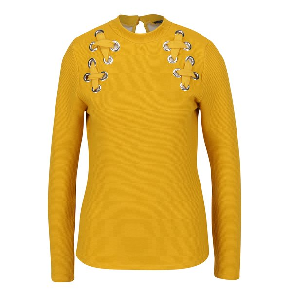 Bluza galben mustar cu sireturi decorative incrucisate - TALLY WEiJL