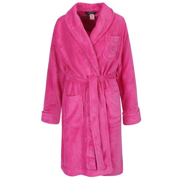 Halat de baie roz cu buzunare si logo brodat – Lauren Ralph Lauren So Soft Robes