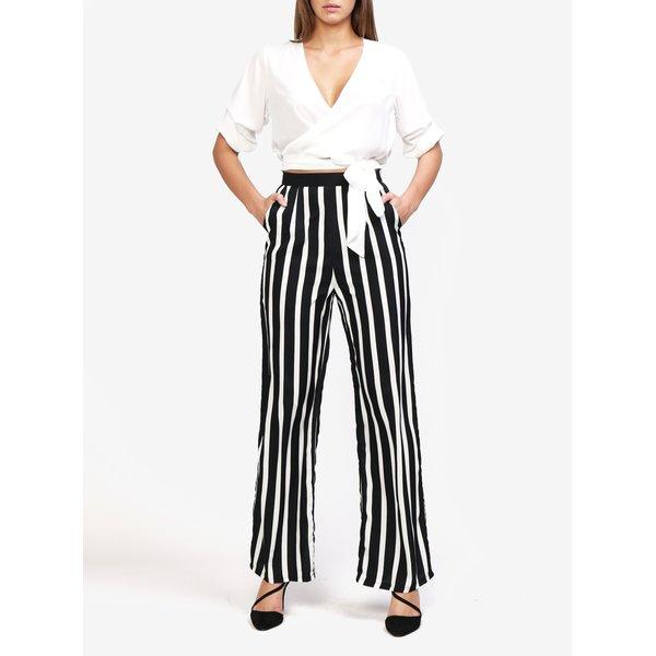 Pantaloni alb & negru cu print in dungi - MISSGUIDED