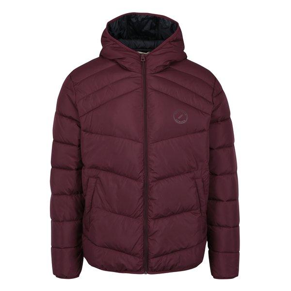 Jacheta rosu bordo matlasata cu gluga – Jack & Jones Landing