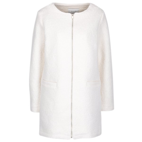 Palton crem din amestec de lana VILA Astal