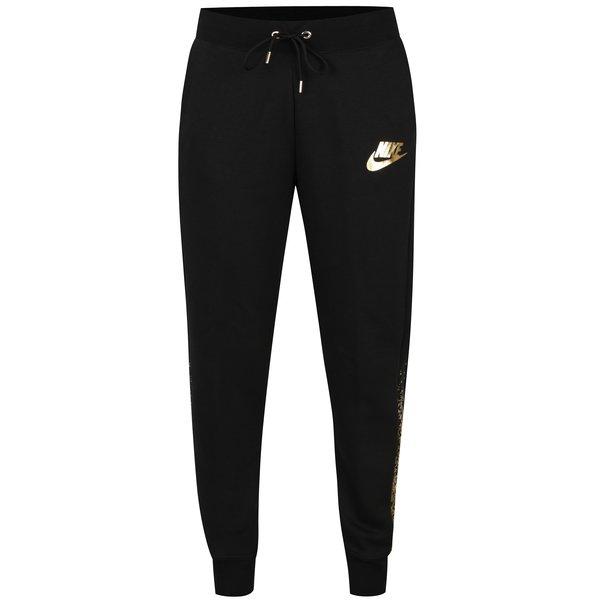 Pantaloni sport negri cu logo auriu pentru femei Nike Rally