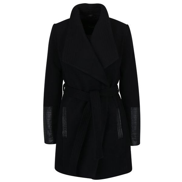 Palton negru cu maxi revere, cordon in talie si detalii cu aspect de piele – VERO MODA Cala
