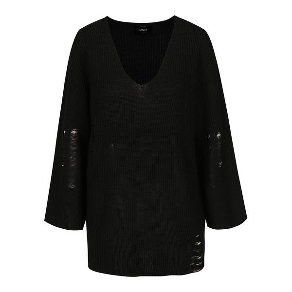 Pulover negru cu aspect deteriorat ONLY Tanya