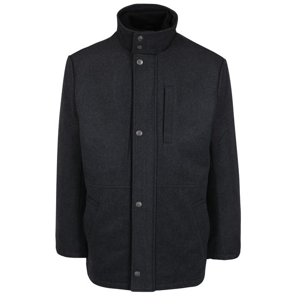 Palton gri inchis cu guler inalt din amestec de lana Seven Seas Douglas