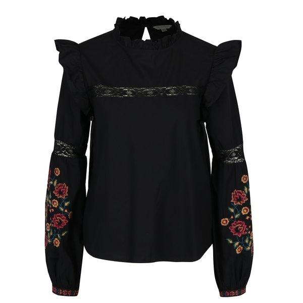Bluza neagra cu broderie pe maneci - Miss Selfridge