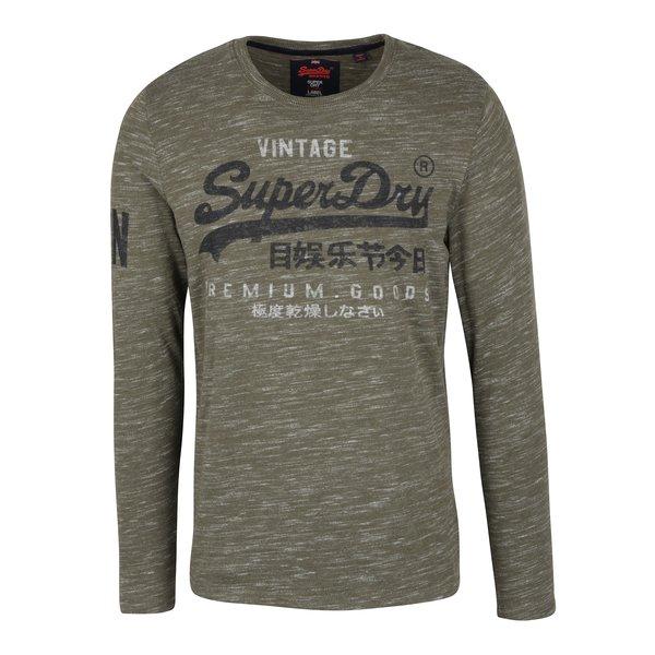 Bluza kaki melanj cu print pentru barbati - Superdry Premium