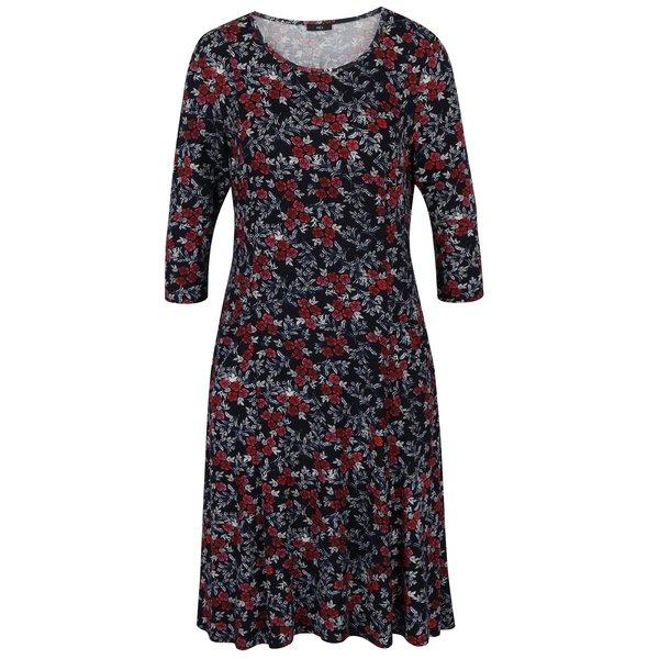 Rochie bleumarin cu print floral si maneci 3/4 M&Co