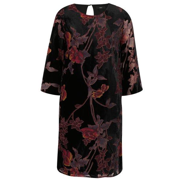 Rochie din catifea neagra cu model floral si maneci 3/4 M&Co