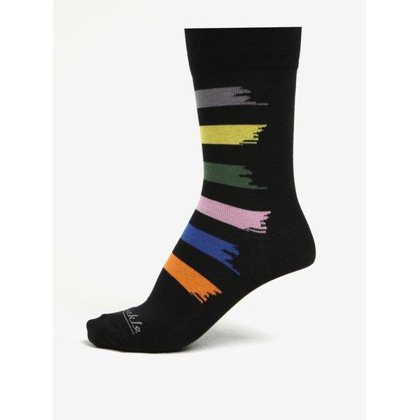 Sosete unisex negre cu dungi multicolore – Fusakle Machuliar