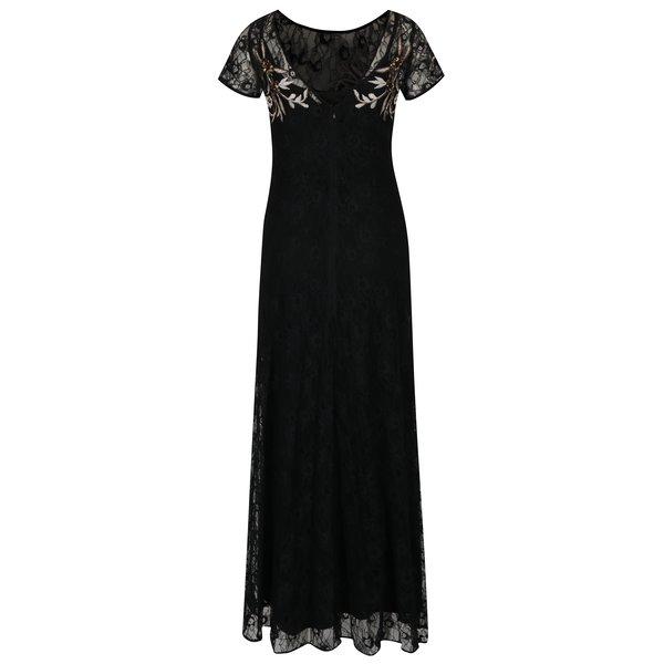 Rochie maxi neagra din dantela cu broderie florala M&Co