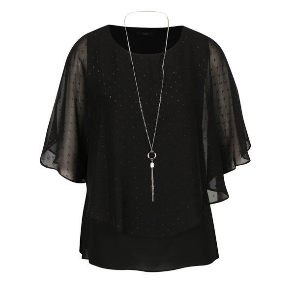 Bluza neagra in buline cu maneci liliac si colier M&Co
