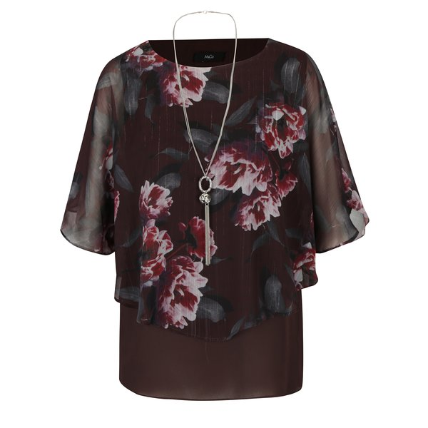 Bluza bordo florala cu maneci liliac si colier M&Co