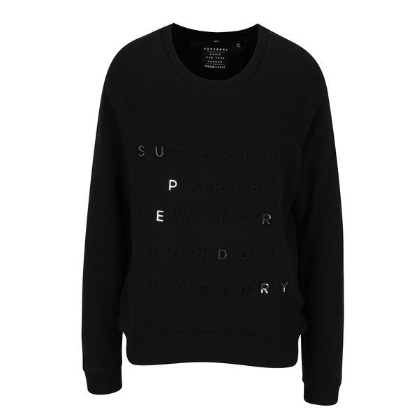 Bluza neagra cu inscriptie pentru femei - Superdry Applique