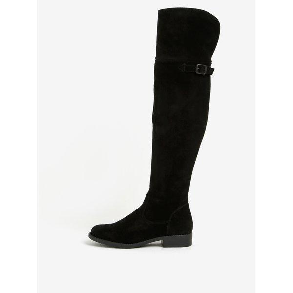 Cizme negre inalte peste genunchi din piele intoarsa- Tamaris