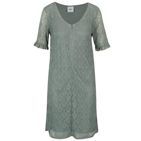 Rochie verde deschis din dantela cu maneci cu volane pentru alaptare Mama.licious Lucy