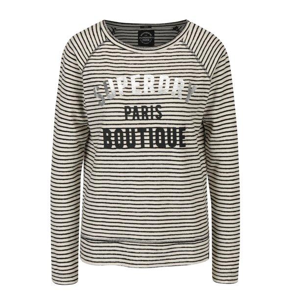Bluza crem deschis & negru cu print - Superdry Amour