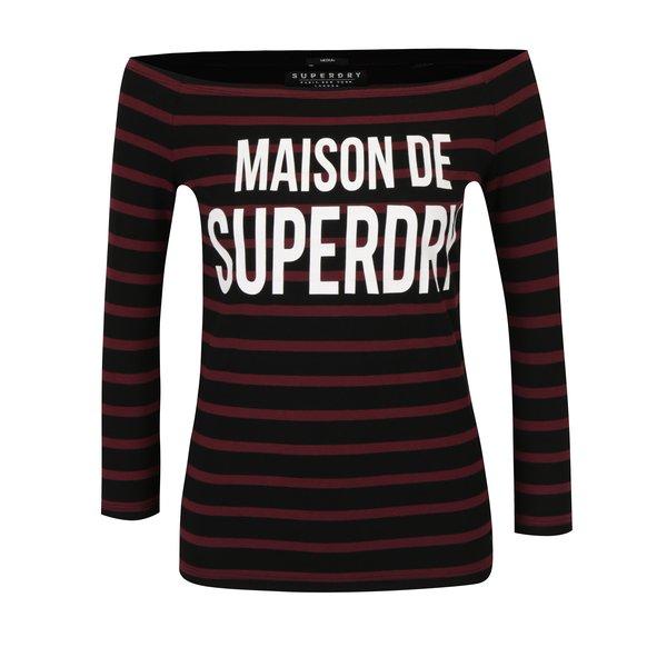 Bluza bordo & negru cu decolteu amplu pe umeri si print - Superdry Graphic