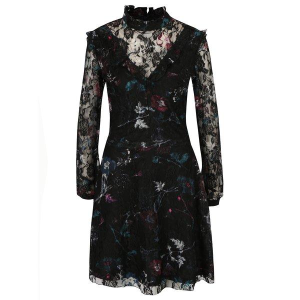 Rochie neagra din dantela cu print floral Garcia Jeans