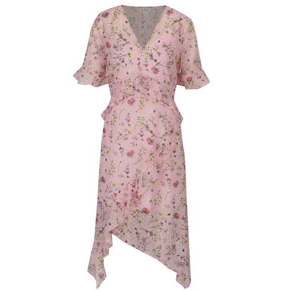 Rochie asimetrica roz cu print floral si volane Miss Selfridge