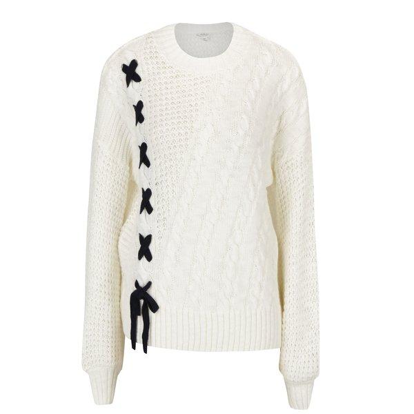 Pulover tricotat crem cu siret pe lateral Miss Selfridge