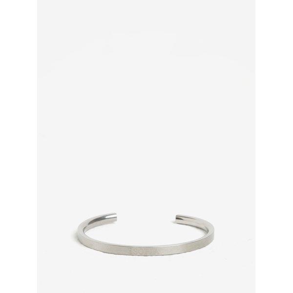 Bratara minimalista argintie cu inscriptie din otel inoxidabil Esoria Lynea
