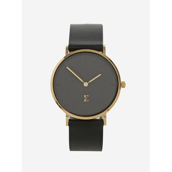 Ceas negru&auriu cu curea din piele pentru femei Esoria Alys
